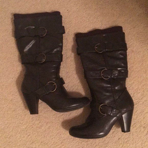 a694aec0069 Dark brown Leather high heel boots. Size 6.5